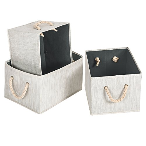 MaidMAX Caja De Almacenaje Organizador Cajon Cubo De Tela, Mango De Cuerda, 3 pcs, Beige, para Ropa, Juguetes y Otros Accesorios: Amazon.es: Hogar