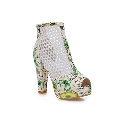 Amoonyfashion Donna Morbido Materiale Peep Toe Tacco Alto Cerniera Sandali Di Colore Assortiti Verde