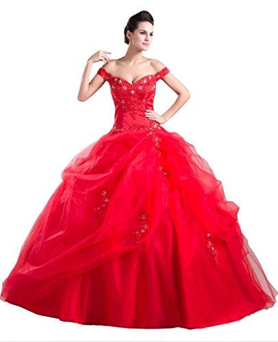 BRIDE GEORGE weg Taille Rot von Applikationen der Perlen Natural Schulter Ballkleid AA6wxa