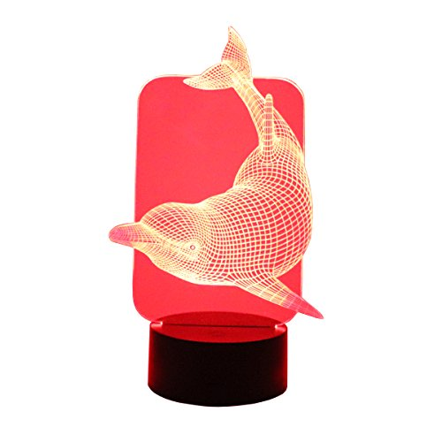 Hguangs 3D Lamp Dolphin Shape Night Lamp 3D Optical Illusion Night light Desk Table Light 7 Colors Changing Touch Control Gift for Christmas Birthday Valentine's Day Kids Children Girl and Boy Dolphins Glass Night Light
