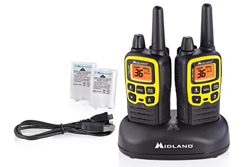 Midland - X-TALKER T61VP3, 36 Channel FRS Two-Way Radio - Up to 32 Mile Range Walkie Talkie, 121 Privacy Codes, NOAA Weather Scan + Alert (Pair Pack) (Black/Yellow) by Midland