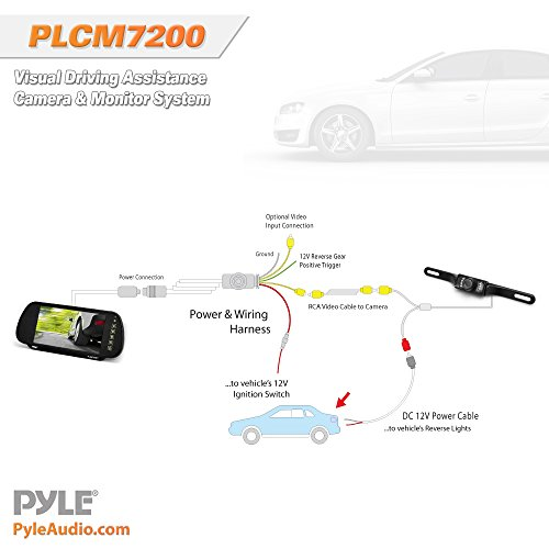 pyle backup car camera  u0026 rear view mirror monitor screen system