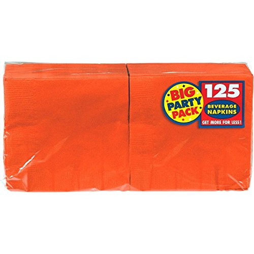 Amscan Big Party Pack 125 Count Beverage Napkins, Orange