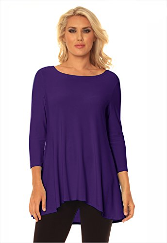 Alisha.D Women's Best Selling Tunic Round Neck with Three Quarter Sleeve and High Low Hem- Fall Colors! (Small, Violet) ()