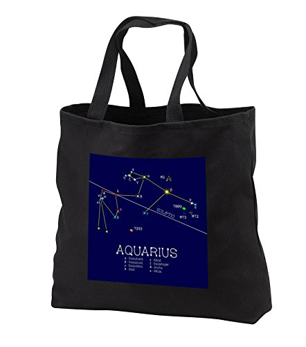 Alexis Design - Constellations of stars - Aquarius Zodiac asterism. Star colors, names. Elegant astronomy - Tote Bags - Black Tote Bag JUMBO 20w x 15h x 5d (tb_286163_3)