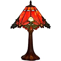 Bieye L40021 Baroque Tiffany Style Stained Glass Table Lamp Night Light with 20 cm Wide Red Lampshade, 48 cm Tall, Red