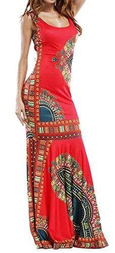 C & H Femmes Mode Dashiki Africaine Impression Sans Manches Robe Maxi Partie Mince Rouge