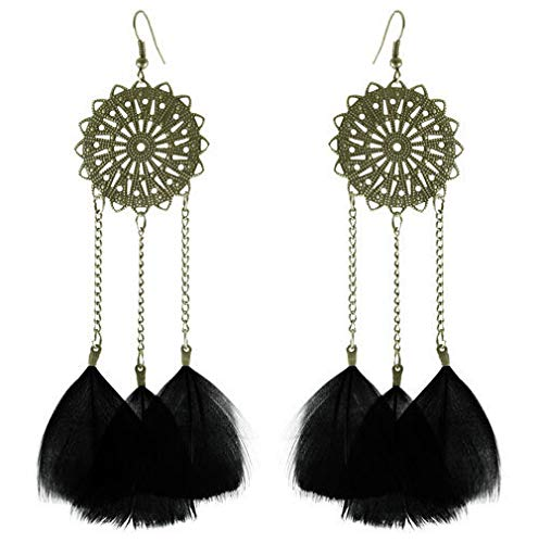 1set fashion black Feather circle chain cute dangle chandelier earrings jewelry