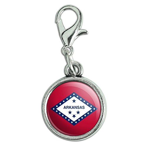 (Antiqued Bracelet Pendant Zipper Pull Charm with Lobster Clasp State Flag - Arkansas State Flag)