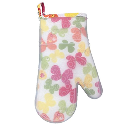 Silicone Printed Fabric Lined Oven Mitt Glove (Pastel Butterfly) (Butterfly Mitt)