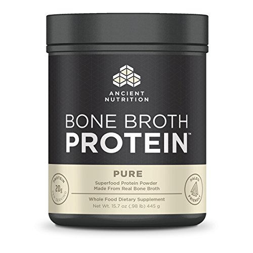 Ancient Nutrition Bone Broth Protein Powder, Pure Flavor, 20 Servings (Flavor Broth Powder)