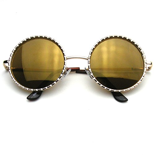 Emblem Eyewear - Designer Inspired Fashion Round Metal Vintage Circle Sunglasses - Boho Glasses