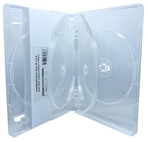 CheckOutStore (5) Premium Multi Disc M-Lock Hub DVD Cases, 6 Disc, Clear by CheckOutStore