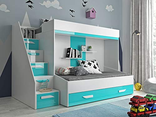 Etagenbett für Kinder PARTY 16 Stockbett mit Treppe und Bettkasten KRYSPOL (Weißszlig; + Grau Glanz) Weiß + Türkisglanz