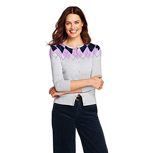 (Lands' End Women's Supima Cardigan Sweater, L, Classic Gray Heather)