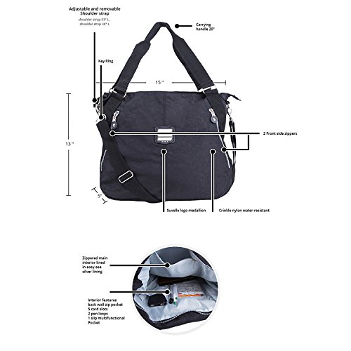 Crossbody Travel Lightweight Large Multi Blue Suvelle Bag Shoulder Pocket Tote Handbag 1932 Denim Everyday qFatqX1