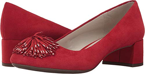 Anne Klein Womens Happy Leather Closed Toe Classic Pumps, Red Suede, Size 6.0