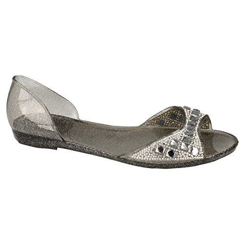 On Spot White Flats Diamante Jelly Ladies Open Womens Studded Toe Ballet 6wwfqPdH
