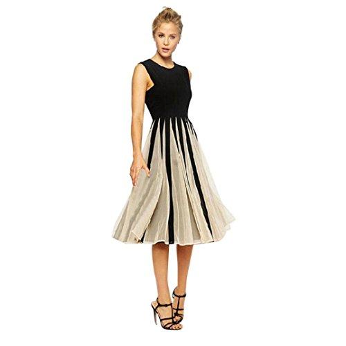 HODOD Summer Fashion Black Sexy Slim Striped Women's O-Neck Casual Sleeveless Dress Evening Party Dress - Sheath Satin Dress Neck