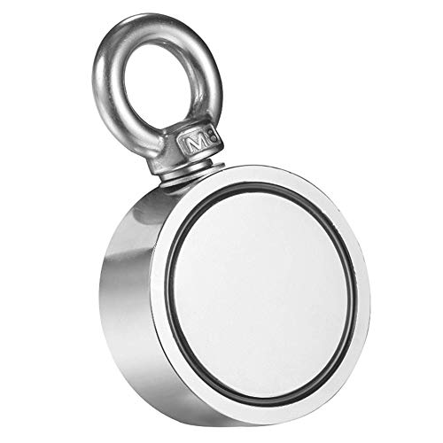 Pulling Force Round Neodymium Magnet Fishing Magnet with Eyebolt for Magnet Fishing and Salvage in River Strong Double Sided Magnetic Ring Strong Magnetic Ring Salvage 300KG 661LB