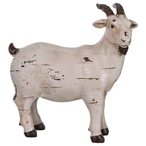 The Country House Ol' Goat Aged Cream 6 x 6 Carved Look Resin Stone Collectible Figurine (Goat Figurine)