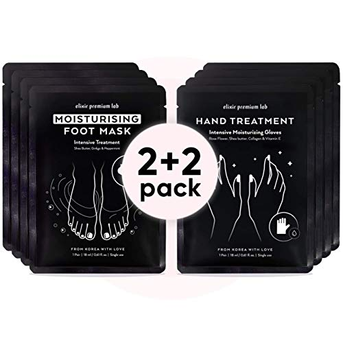 Moisturizing Foot & Hand Mask Set - Hydrating Socks & Collagen Gloves Kit -  Best Korean Moisturizer for Dry Skin for Men & Women (2+2 Pack)