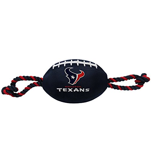 Pets First NFL Houston Texans Football Dog Toy, Tough Nylon Quality Materials with Strong Pull Ropes & Inner Squeaker in NFL Team Color