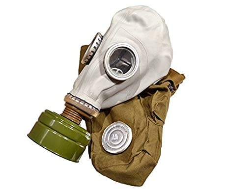 GP-5 Original Soviet Civilian Protective Gas Mask (activated Charcoal filter and bag included) (Small, white) RUSSIA