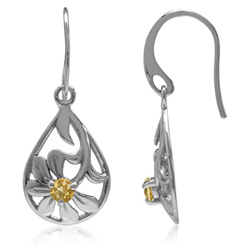 (Natural Citrine White Gold Plated 925 Sterling Silver Filigree Flower & Leaf Drop Dangle Earrings)