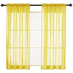 Deconovo Yellow Sheer Curtains 63 Transparent Curtains Sheer Rod Pocket Window Curtain for Bedroom 60W x 63L Lemon Yellow 2 Panels