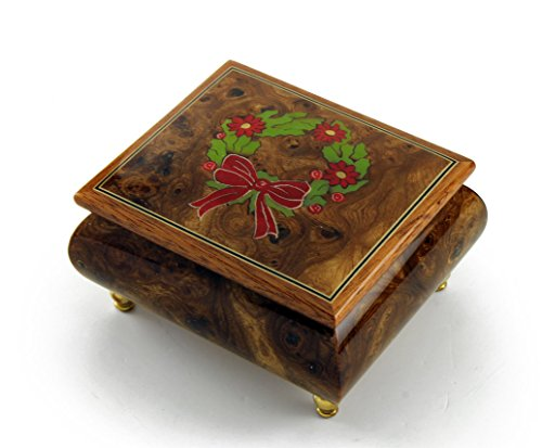 Handcrafted 18 Note Sorrento Music Box with Christmas Theme Wood Inlay of a Christmas Wreath - Reich Mir Die Hand Mein Laben - SWISS (Wood Box Mira)