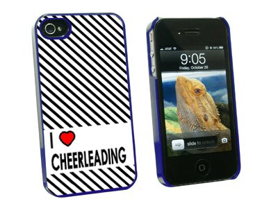 Graphics and More I Love Heart Cheerleading - Snap On Hard Protective Case for Apple iPhone 4 4S - Blue - Carrying Case - Non-Retail Packaging - Blue