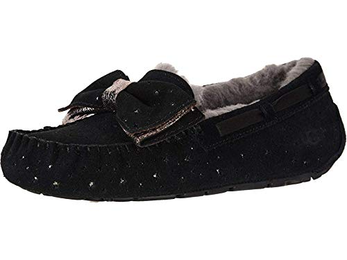 UGG Women's W Dakota STARGIRL Slipper, Black, 5 M US (Dakota Black Leather)