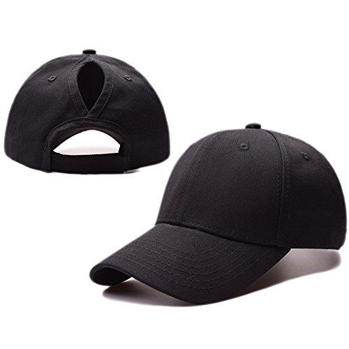 Kokkn Ponytail Baseball Cap Hat Ponycaps Messy Ponytail Adjustable Outdoor Cap Trucker Dad Hat for Women Men (Black)