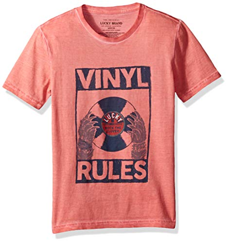 Lucky Brand Big Boys' Short Sleeve Graphic Tee Shirt, Mineral red, XL
