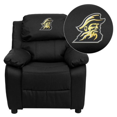 Flash Furniture Appalachian State Mountaineers Embroidered Black Leather Kids Recliner with Storage Arms (Leather Black Mountaineers)