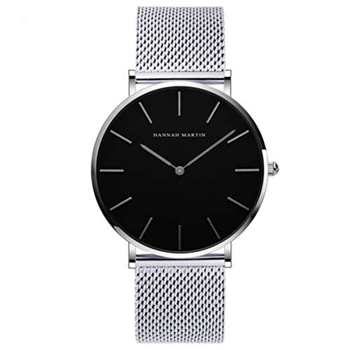 Dovkumo Men's Ultra Thin Quartz Stainless Steel Mesh Band Watch (Black Dial,Silver-Tone Band)