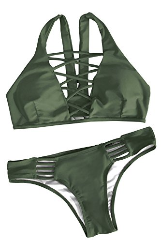 Joy&Bella Solid Color Lace Up Two Pieces Bikini Set Padding Bathing Suit Criss Cross Swimwear Monokini Beach (M (US 8-10), Olive Green) (Top Green Swimsuit)