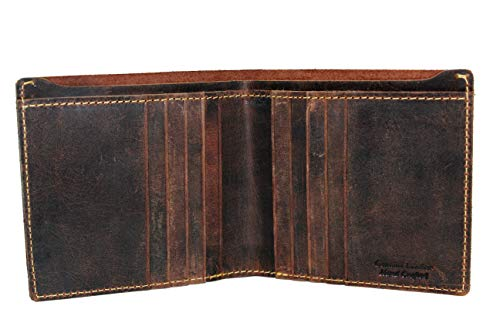 Brown Hipster Bi-fold Wallet for men's Crazy Horse 100% Hunter Solid Leather Retro Style