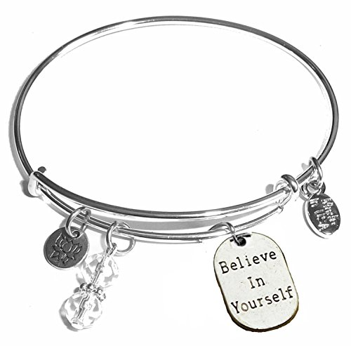 Message Charm (46 words to choose from) Expandable Wire Bangle Bracelet, in the popular style, COMES IN A GIFT BOX! (Believe In Yourself) (In Bulk Bangles)