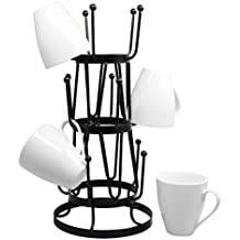 Stylish Steel Mug Tree Holder Organizer Rack Stand (Black)