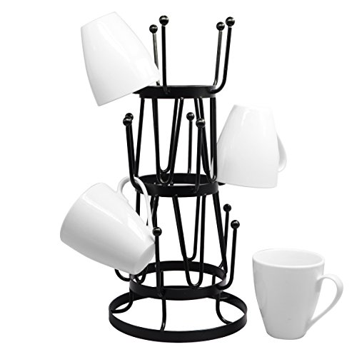 Red Standard Flag (Stylish Steel Mug Tree Holder Organizer Rack Stand (Black))