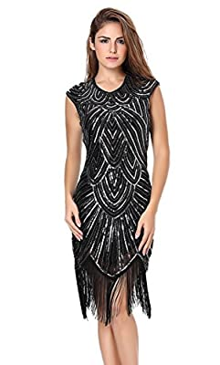 U.mslady Womens 1920s Crystal Sequin Slinky Fringe Flapper Cocktail Dress