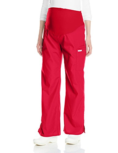 (Cherokee Women's Maternity Knit Waist Pull-On Pant, Red, X-Large)