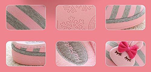 Hevinle Carino Coniglio Cotone Invernale Soft House Donna Pantofole Arancione