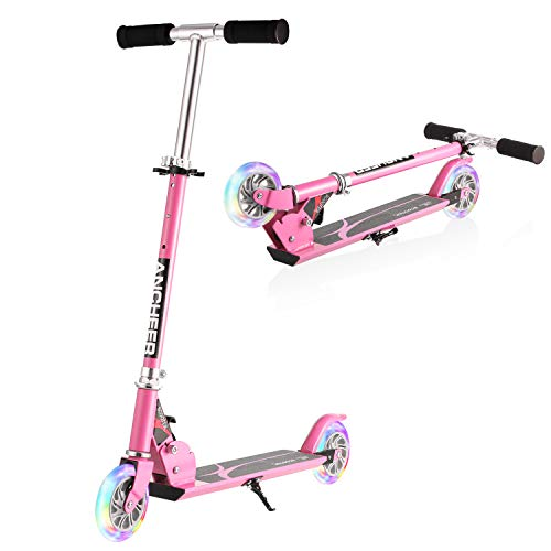 ANCHEER Kick Scooter for Kids | Foldable Adjustable Height Mini Push Scooter with 2 LED Light Up Wheels, Birthday Gift for Children Boys Girls Age 3 to 8 (Pink)