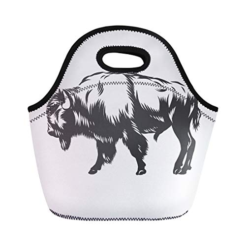 (Semtomn Lunch Tote Bag Bison American Buffalo Inked Graphic Head Animal Arrangement Mascot Reusable Neoprene Insulated Thermal Outdoor Picnic Lunchbox for Men Women)