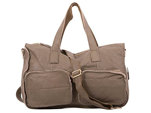 Unisex Messenger, laptop bag, borsa a tracolla XXL in vera pelle mod 4005 in taupe