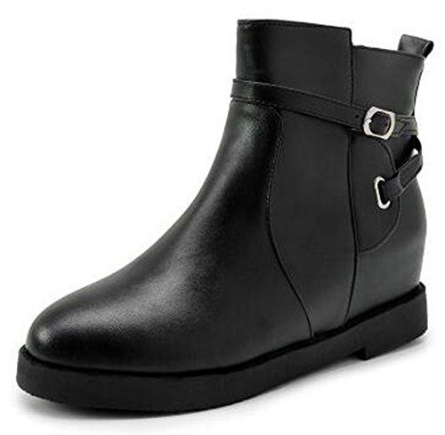 Hidden Motor Black Boots Wedge Side Zipper Casual Inside IDIFU Mid Ankle Heels Womens RzpFxzqwX
