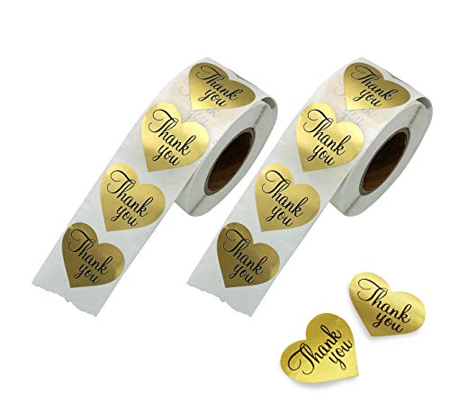 Thank You Stickers Gold Heart Shaped Foil Easy-Pull Adhesive Foil Labels (1000 ()